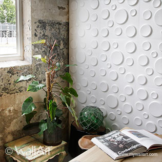 WallArt 3d walls Craters design with plant