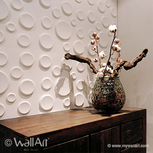 WallArt 3d wall panels Craters design at desk