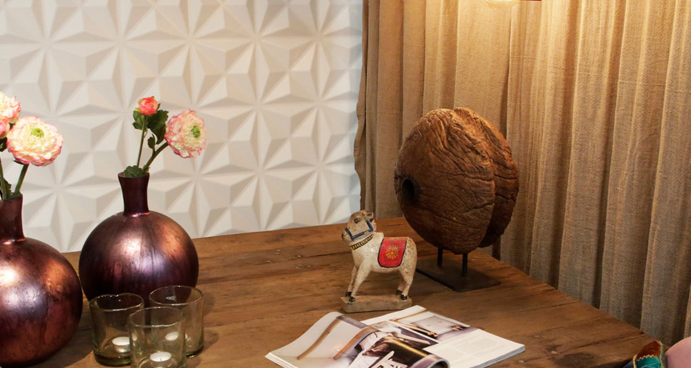 3D Wall Tiles for your Living Room - Visit MyWallArt.com for more Wall Decoration ideas