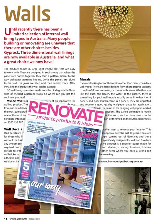 wallart 3d walls in Renovate Magazine Australia