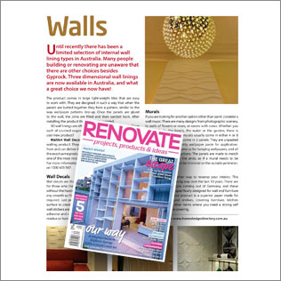 wallart in Renovate Magazine Australia