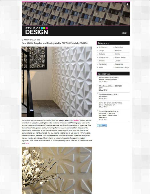 Style of Design wallart 3d wall