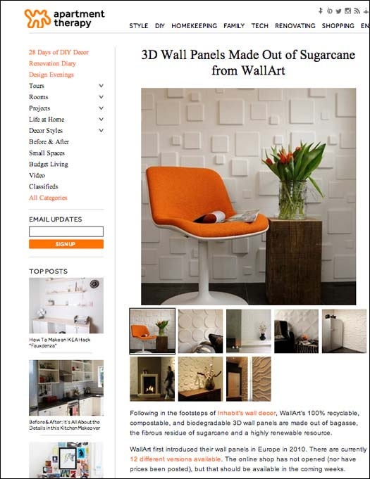 Article - Apartment Therapy about our 3D Wall Panels | My Wall Art