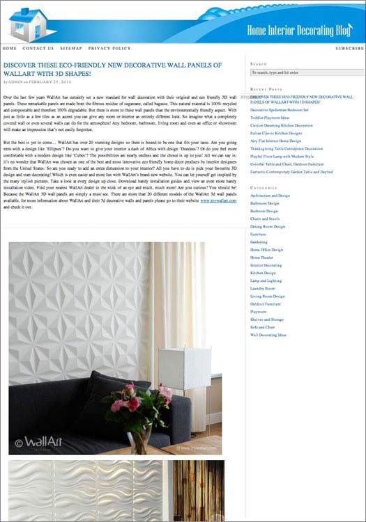 wallart published in Home Interior Decorating