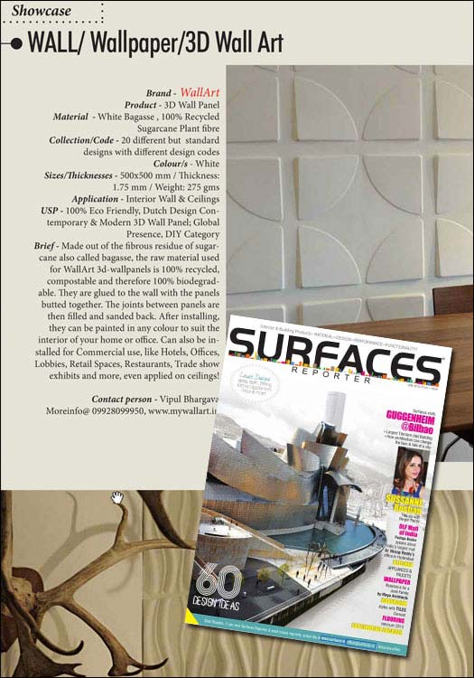 wallart pulished in Surfaces Reporter india wallart