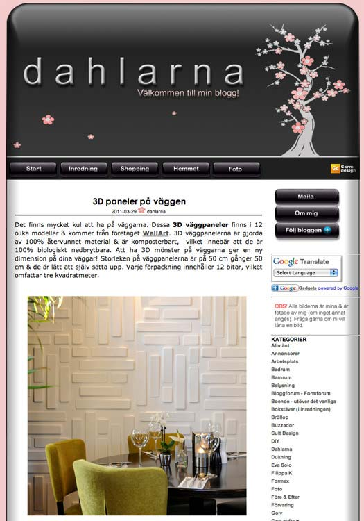 Dahlarna published wallart 3d wallpanels
