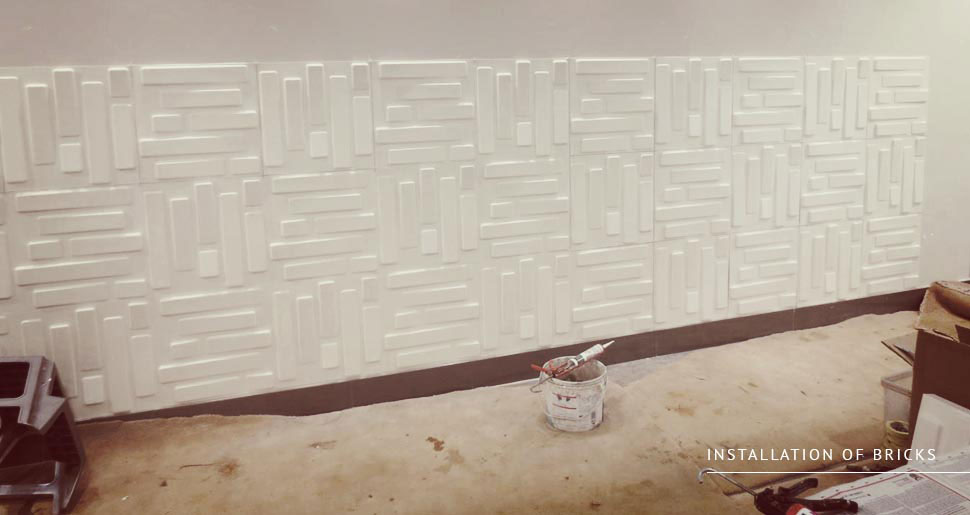 installation  - 3d walltile installation bricks wallart